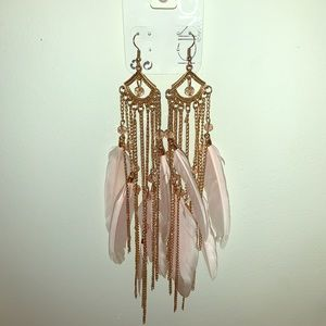 *2 for $20* Pink chandelier feather earrings